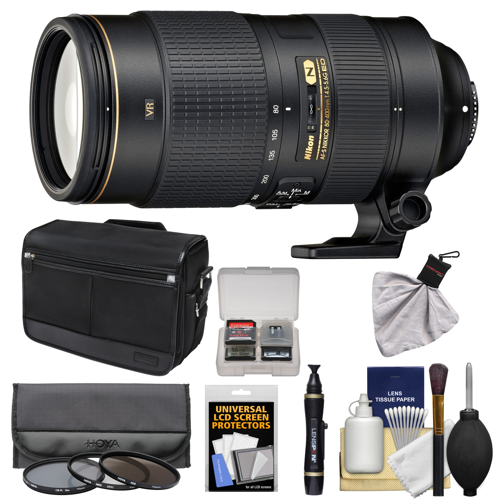 Nikon 80-400mm f/4.5-5.6G VR AF-S ED Nikkor-Zoom Lens + Shoulder Bag + 3 Filters Kit for D3200, D3300, D5300, D5500, D7100, D7200, D750, D810 Camera