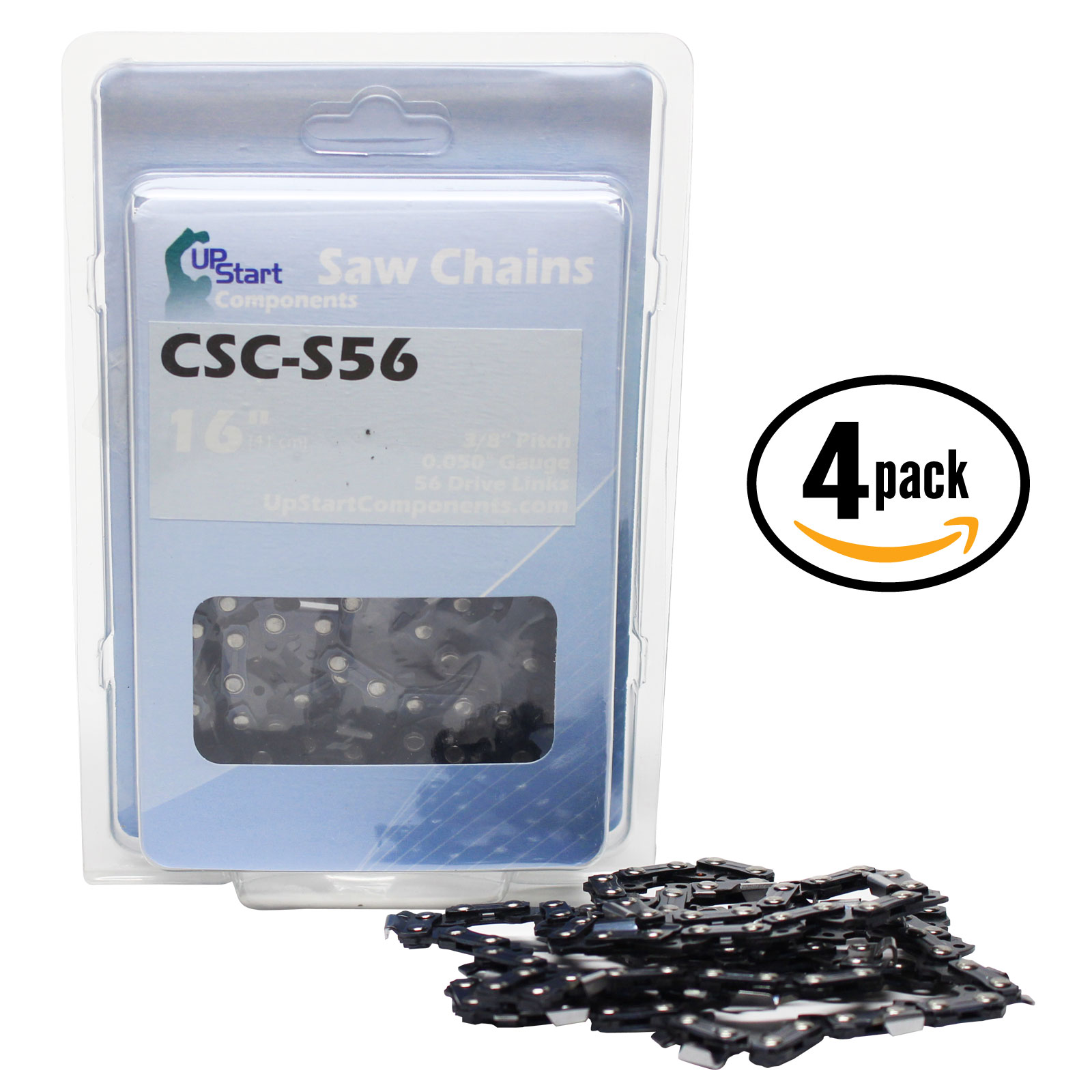 "4-Pack 16"" Semi Chisel Saw Chain for Craftsman 35586 Chainsaws - (16 inch, 3/8"" Low Profile Pitch, 0.050"" Gauge, 56 Drive Links, CSC-S56) - UpStart Components"