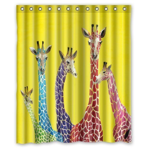 MOHome Giraffe Shower Curtain Waterproof Polyester Fabric Shower Curtain  Size 60x72 Inches