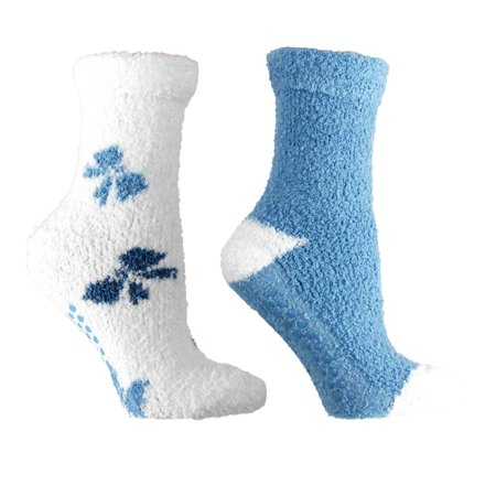 Chenille Womens Socks - 2 Pair Pack Women's Chenille Slipper Socks Lavender Infused Non-slip Fuzzy and Warm One Size Bows Periwinkle Kissables By MinxNY