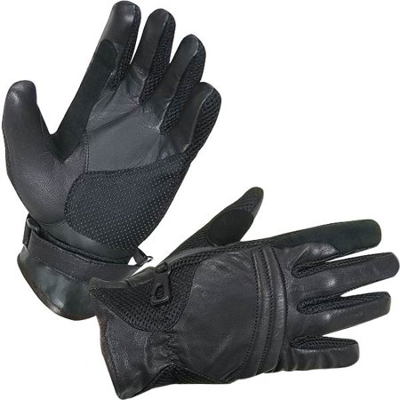 Summer Motorcycle Gloves (Xelement XG296 Mens Black Leather/Textile Summer Motorcycle)