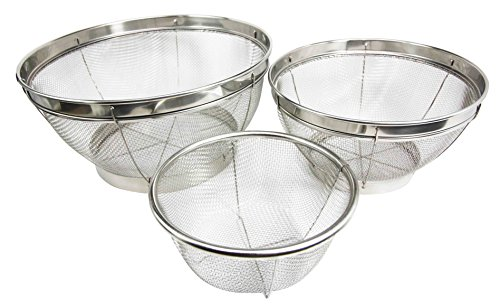 Atlantic Collectibles Set of Three Wire Mesh Food Strainer Colander Stainless Steel by Gifts & Decors