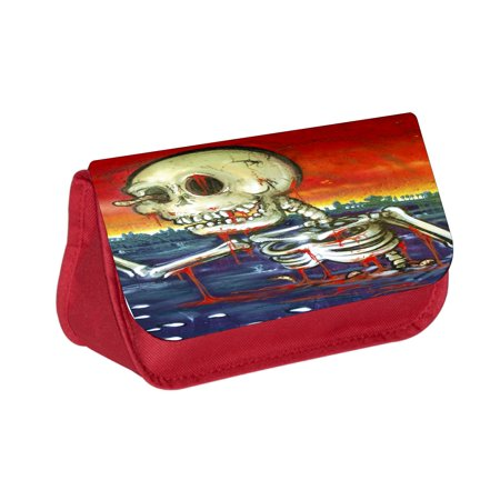 Watercolor Zombie Skeleton - Red Cosmetic Case - Makeup Bag - with 2 Zippered Pockets - Easy Skeleton Makeup