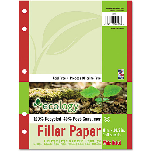 Pacon Ecology Filler Paper, 8 x 10-1/2, Wide Ruled, White, 150 Sheet Pack