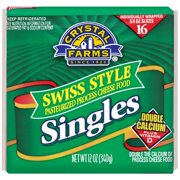 Crystal Farms Swiss Cheese Singles, 16 ct