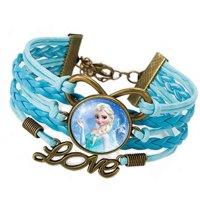 Elsa Braided Love Leather Style Blue and Sky-Blue Bronze Color Frozen Bracelet FBZ-5