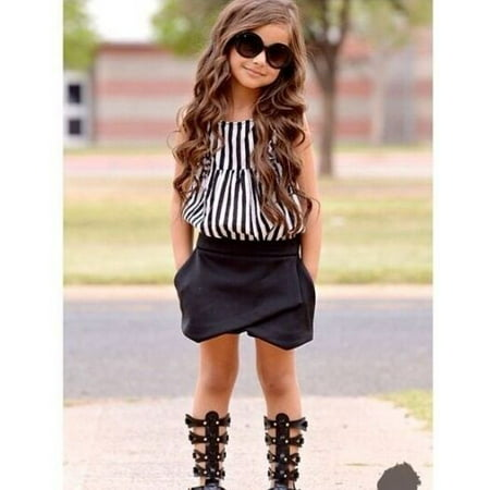 Fashion Cool Smart Kids Baby Girls Vertical Stripe Tops Blouse Black Pants 2pcs Outfits 2~7Y](Cool Anime Outfits)