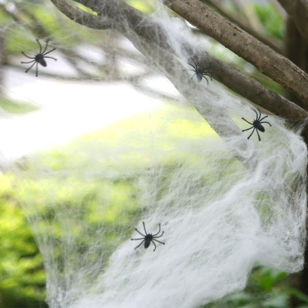 Halloween Decorations Stretchable Cobweb Halloween Party Ornament Spooky Spider Web with 24 Fake Spiders, Fit for Indoor and Outdoor - image 4 de 8
