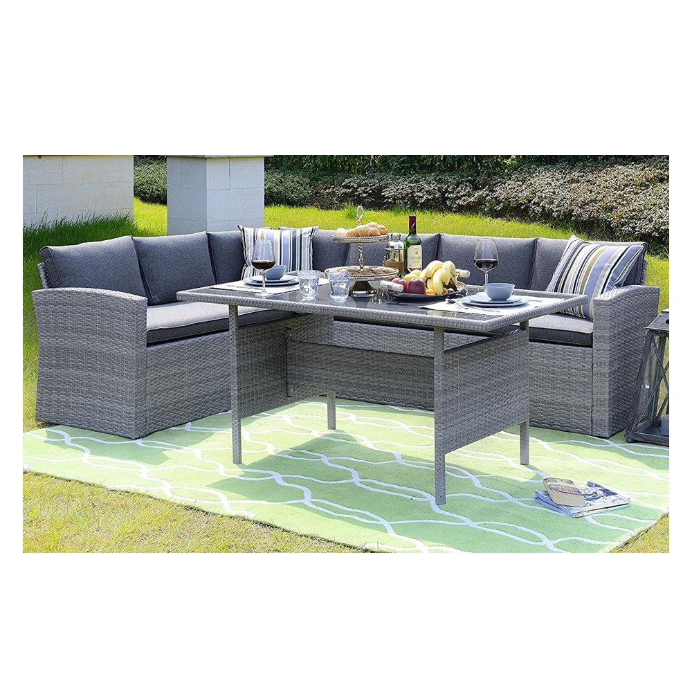 Homewell Outdoor Wicker Dining Set with L Shaped Sofa