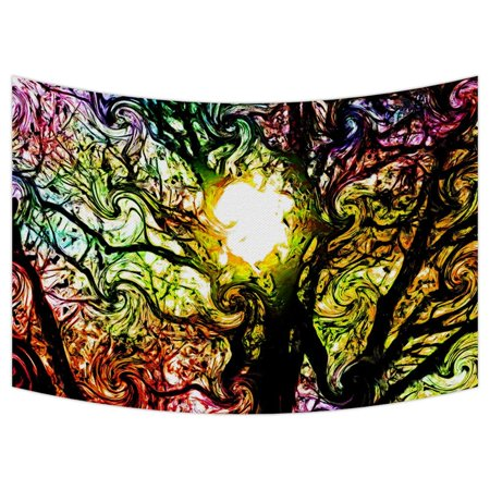 GCKG Colorful Psychedelic Dreams Tree Tapestry Wall Hanging,Wall Art, Dorm Decor,Wall Tapestries Size 90x60 inches ()