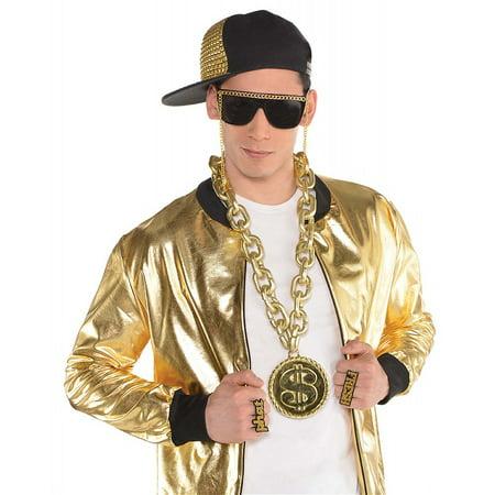 Old School Bling Mens Adult 90S Hip Hop Rapper Costume Dollar (90's Mens Costumes)