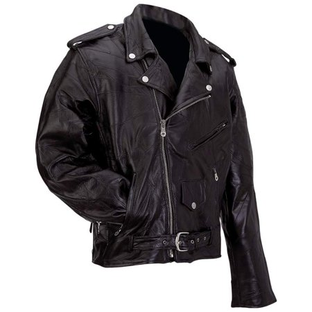 Diamond Plate™ Rock Design Genuine Buffalo Leather Motorcycle Jacket - Small - GFMOTS Diamond Plate Motorcycle Jacket