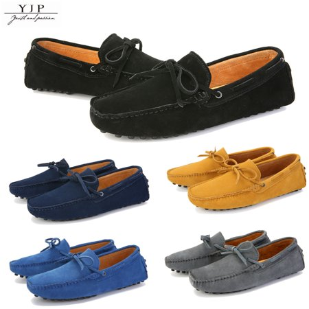 YJP Men's Loafers Soft Suede Leather Penny Flats Casual Shoes