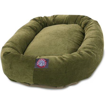 Majestic Pet Villa Collection Micro-Velvet Bagel Dog Bed - Fern - 24u0022