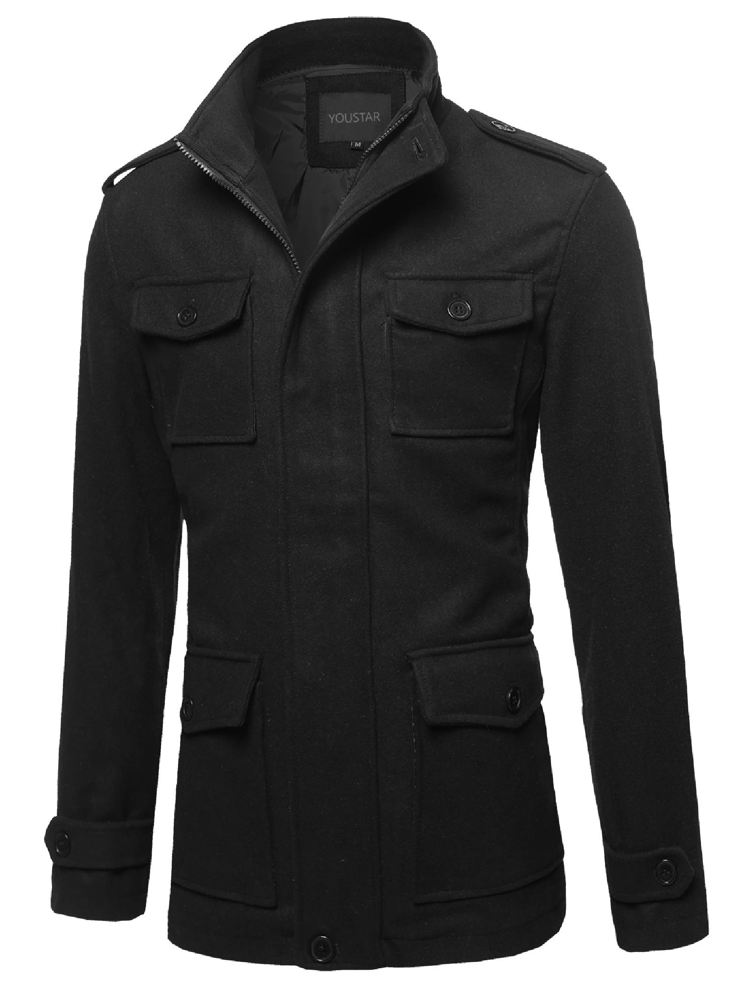 FashionOutfit Men's Classic Long Sleeves Zipper & Button Closure Wool Blend Coat by