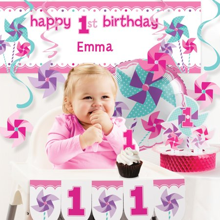 Turning One Girl 1st Birthday Party Decorations Kit - First Birthday Party Ideas Girl