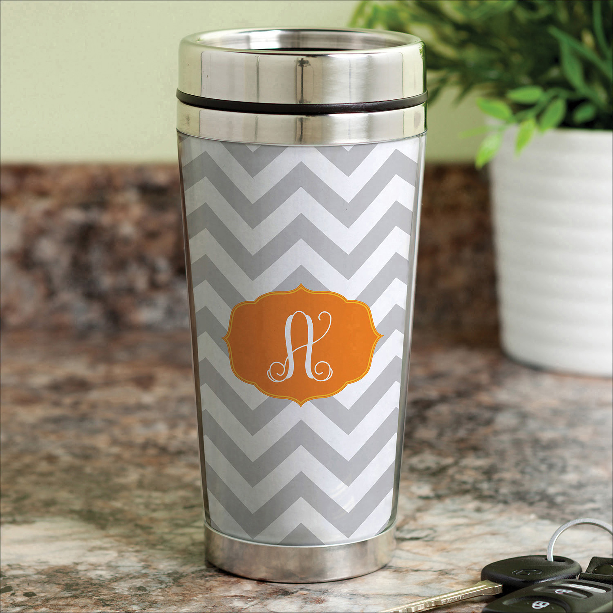 Personalized Chevron Initial Travel Mug