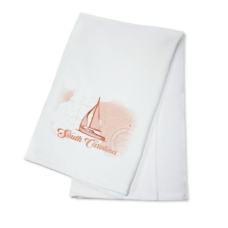 South Carolina - Sailboat - Coral - Coastal Icon - Lantern Press Artwork (100% Cotton Kitchen Towel) ()