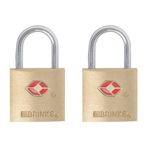 Brinks 22mm Tsa Brass Padlock, 2-Count
