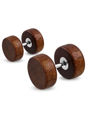 Organic Natural Wood Illusion Round Circle Stainless Steel Faux Fake Cheater Ear Plugs Gauge, Pair