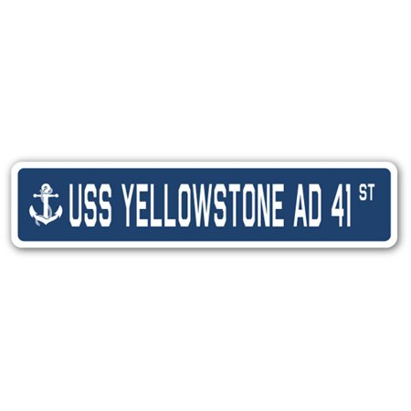 Uss Yellowstone Ad 41 Street  3 Pack  Of Vinyl Decal Stickers   1 5   X 7    Indoor Outdoor   Funny Decoration For Laptop  Car  Garage   Bedroom  Offices   Signmission