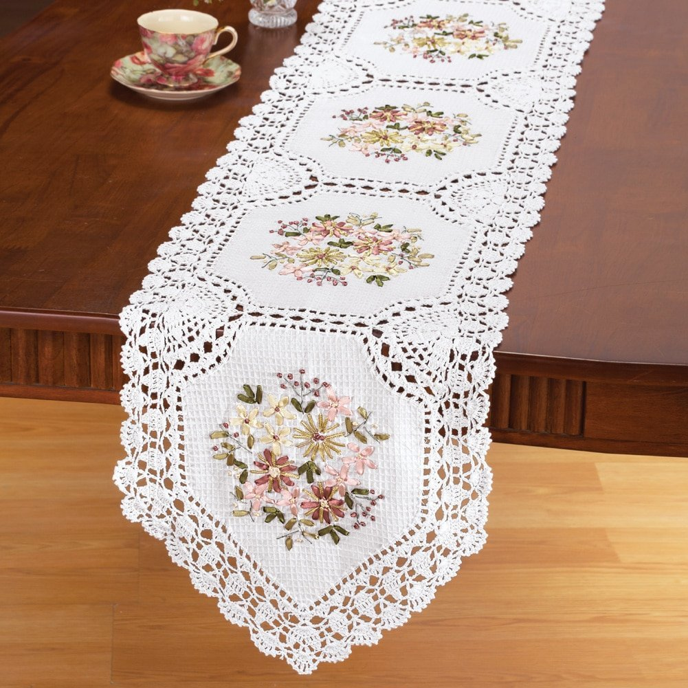 Embroidered Floral Crochet Table Linens, Runner, USA, Brand Collections Etc