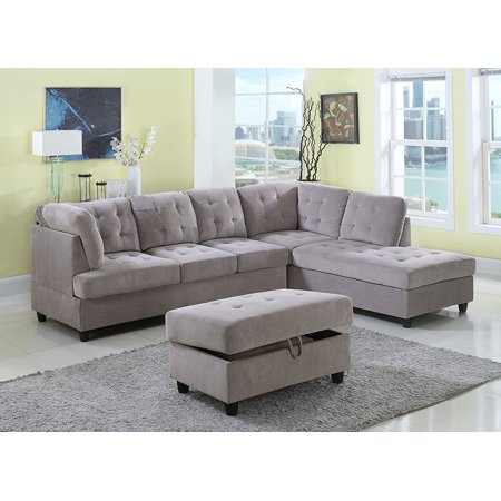 3 Piece Corduroy Contemporary Right-facing Sectional Sofa Set with Ottoman,  Gray - Walmart.com