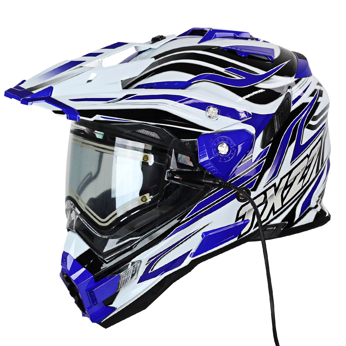 Snow Master TX-27 White Blue DS Snowmobile Helmet