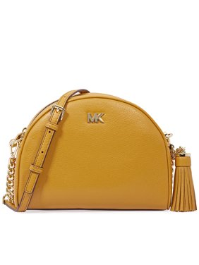 d5cb3bb56204 Product Image Michael Kors Ginny Pebbled Leather Half-Moon Crossbody Bag-  Marigold