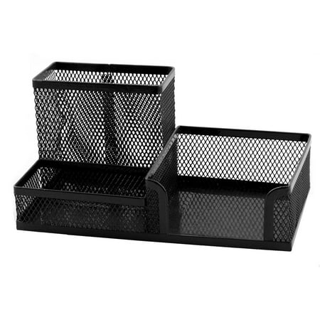 Desk Pen Holder - Unique BargainsOffice School Metal Mesh 3 Compartment Desktop Pen Holder Organizer Black