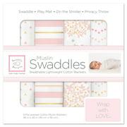 SwaddleDesigns X-Large Cotton Muslin Swaddle Blankets, Set of 4, Heavenly Floral Shimmer, Pink