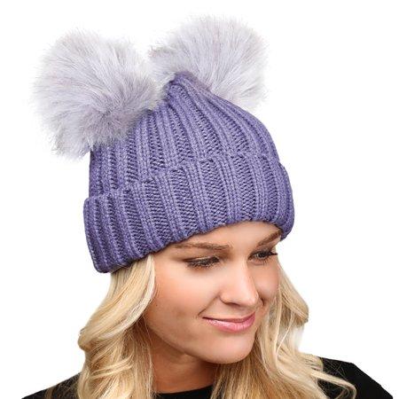 4a5886797 MIRMARU Women's Winter Chunky Knit Faux Fur Double Pom Pom Beanie Hat.