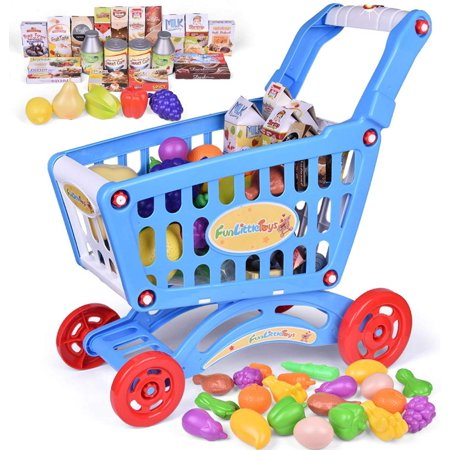 Toy Shopping Cart for Kids with Lights & Music for Kids and Toddler - Includes Pretend Play Food Accessories for Kids Party Favors Turn your playroom into a real life grocery store with this toy shopping cart! Let your little shopper shop the afternoon away with this 18.5?? shopping cart & vast variety of grocery pretend food items. The shopping cart trolley playset offers just the proper amount of space for all pretend play supplies that comes with everything in supermarket. It?ll provide hours of shopping pretend play fun right from your home. Featuring an incredibly durable plastic frame, sturdy plastic wheels that without the squeaky wheels, and a chunky handlebar, this toddler shopping cart is simply a real-life grocery trolley, just smaller than normal. Easy to push and stable for the early walkers, the molded wheels are large and roll very smoothly, providing beginner walkers with a safe and easy-to-push cart. Plus, this shopping cart trolley play set comes with over 40 pieces of pretend food items to fill up that shopping basket, such as dairy items, cookies boxes, and some cute molded fruits & vegetables. Send your little shopper rolling into a vivid pretend play shopping experience with Fun little Toys grocery cart playset!
