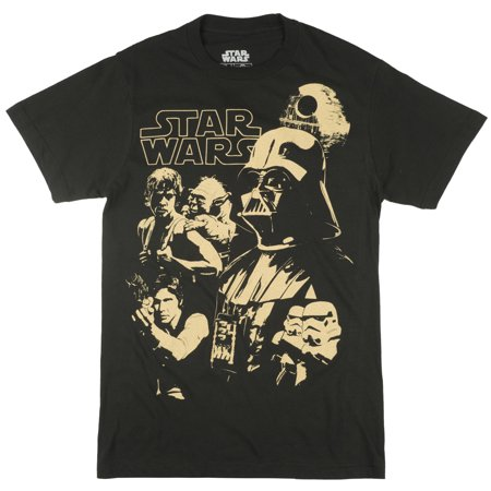 Disney Star Wars Episodes 4-6 T-Shirt Retro Movie Tees Mens Black (Disney Channel Halloween Episodes)
