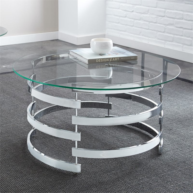 Steve Silver Tayside Round Glass Top Coffee Table in ...