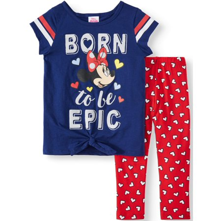 Minnie Mouse Tie-Front Varsity Tee and Legging, 2-Piece Outfit Set (Little Girls) - Minnie Mouse Outfits For Adults