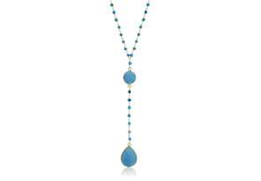 79 Carat Turquoise Pear Shape Y Bar Strand Necklace In 14K Yellow Gold 36 Inches by Overstock