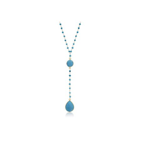 79 Carat Turquoise Pear Shape Y Bar Strand Necklace In 14K Yellow Gold Over Sterling Silver 36 Inches