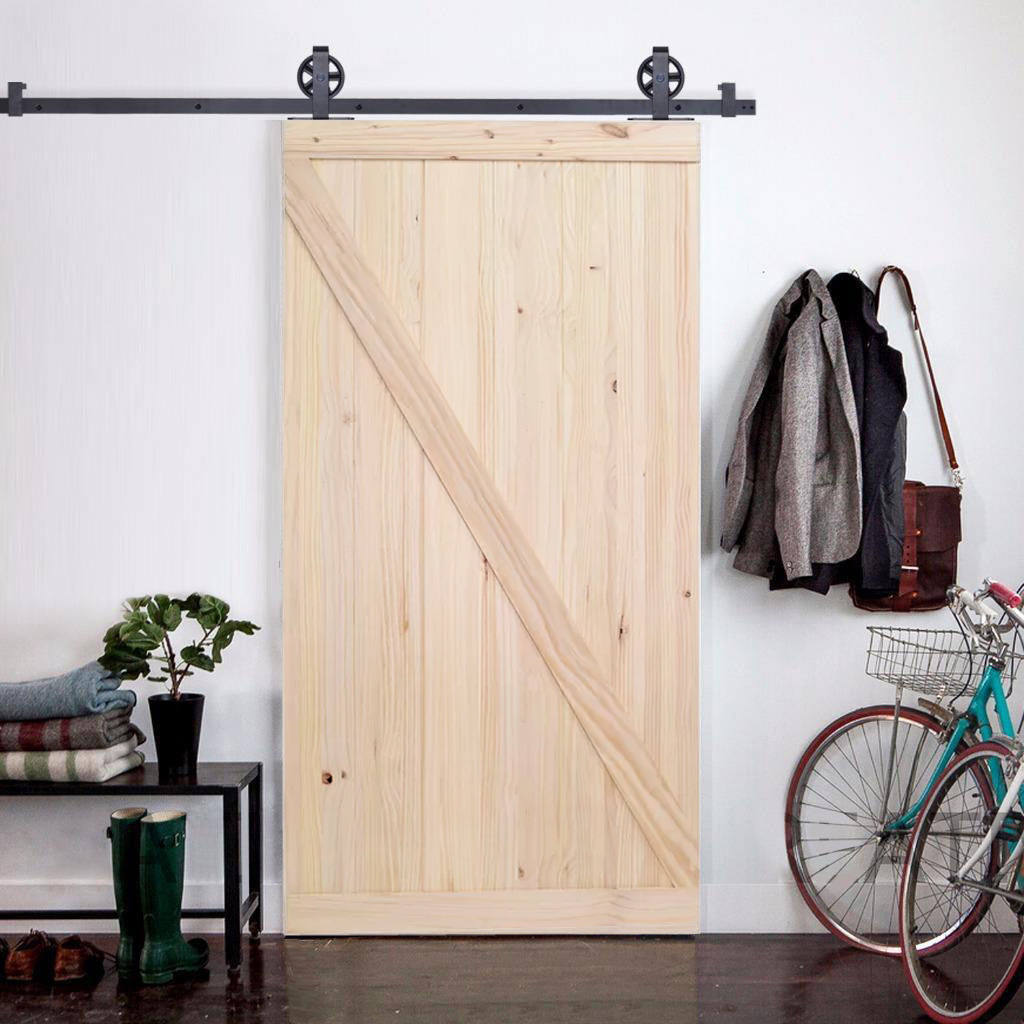 "TMS 6.6FT Vintage Strap Industrial Wheel Sliding Door Hardware W/42"" Wide Wood Door"