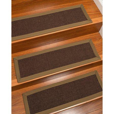 Natural Area Rugs  100% Natural Fiber Alma, Sisal Dark Brown, Handmade Custom Stair Treads Carpet Set Of 8 Squirrel Border ()