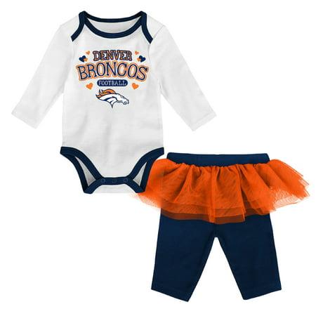 Girls Newborn & Infant White/Navy Denver Broncos Tulle Long Sleeve Bodysuit & Pants - Broncos Outfit