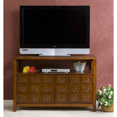 SEI Apothecary Double Door Media Stand, Brown Mahogany
