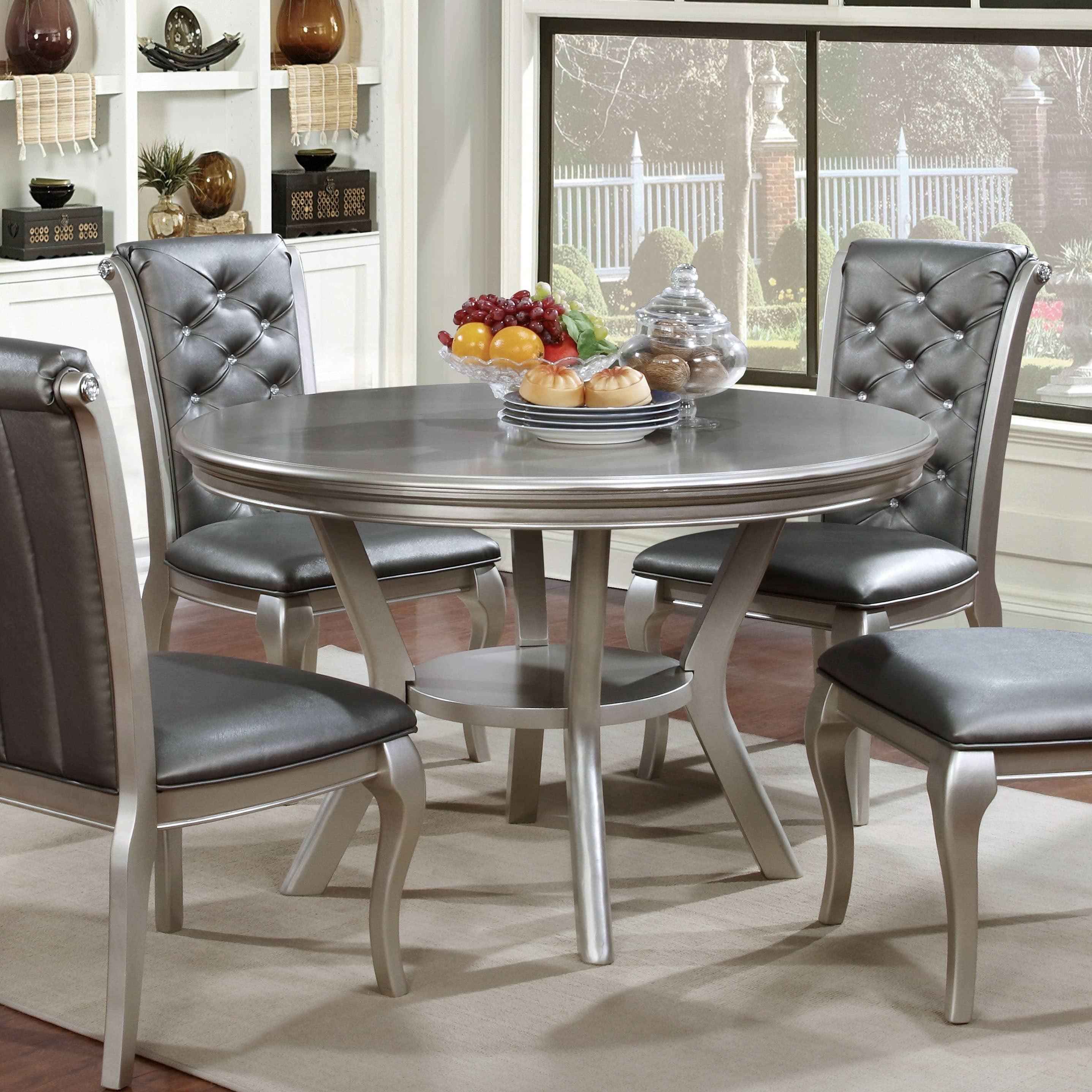 Furniture Of America Valencia Champagne Gold Round Dining Table By