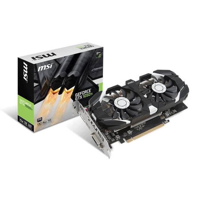 Msi NVIDIA GeForce GTX 1050 TI OC 4GB GDDR5 DVI/HDMI/DisplayPort PCI-Express Video Card