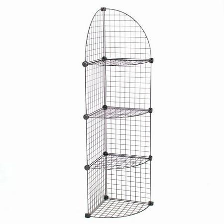 KC Store Fixtures Mini grid corner unit, 4 shelf - black