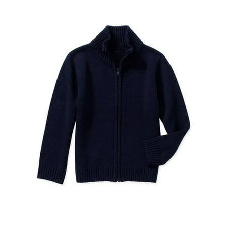 10cc6595f101 George - Boys School Uniforms Zip Up Mock Neck Sweater - Walmart.com