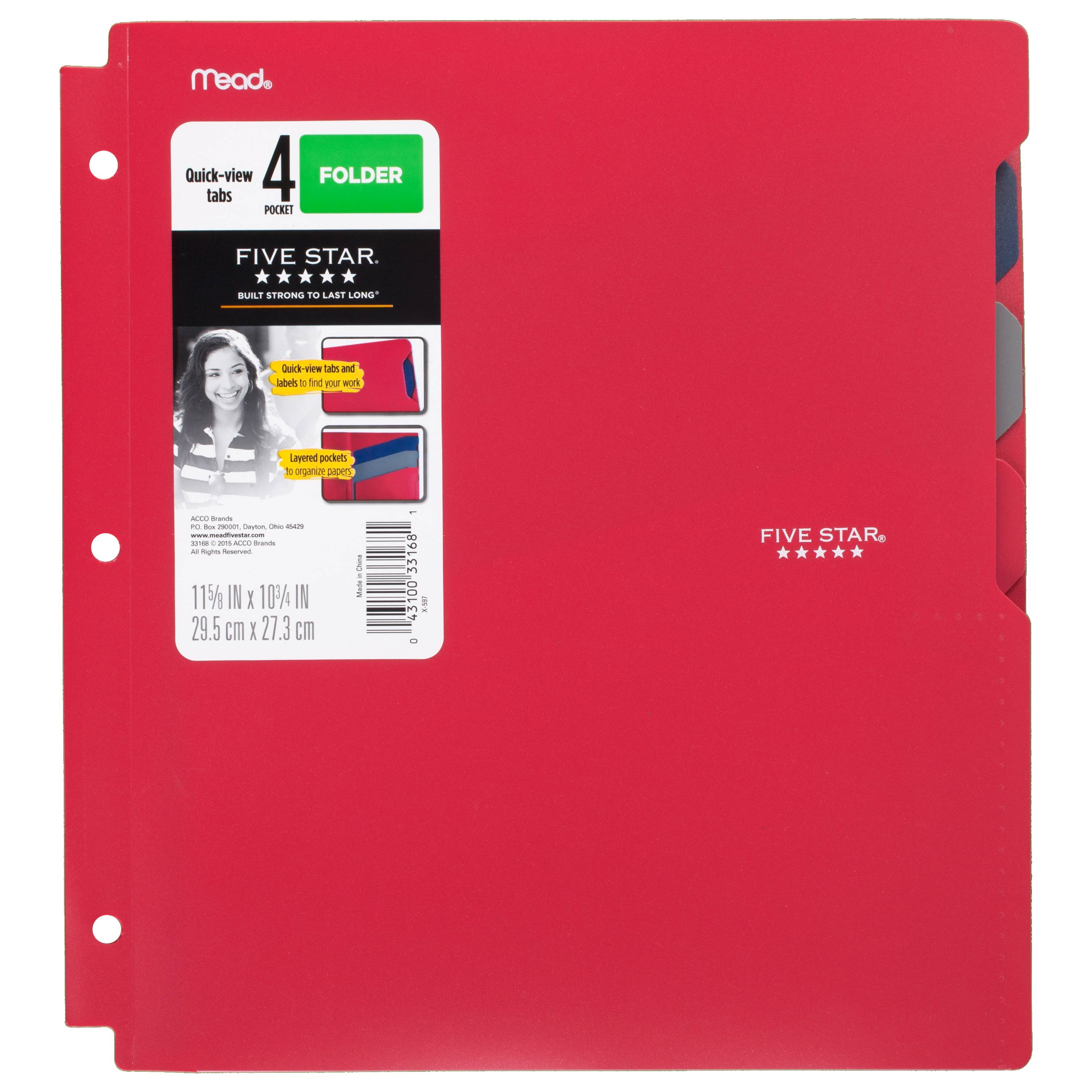 Five Star Quick-View 4-Pocket Folder, Red