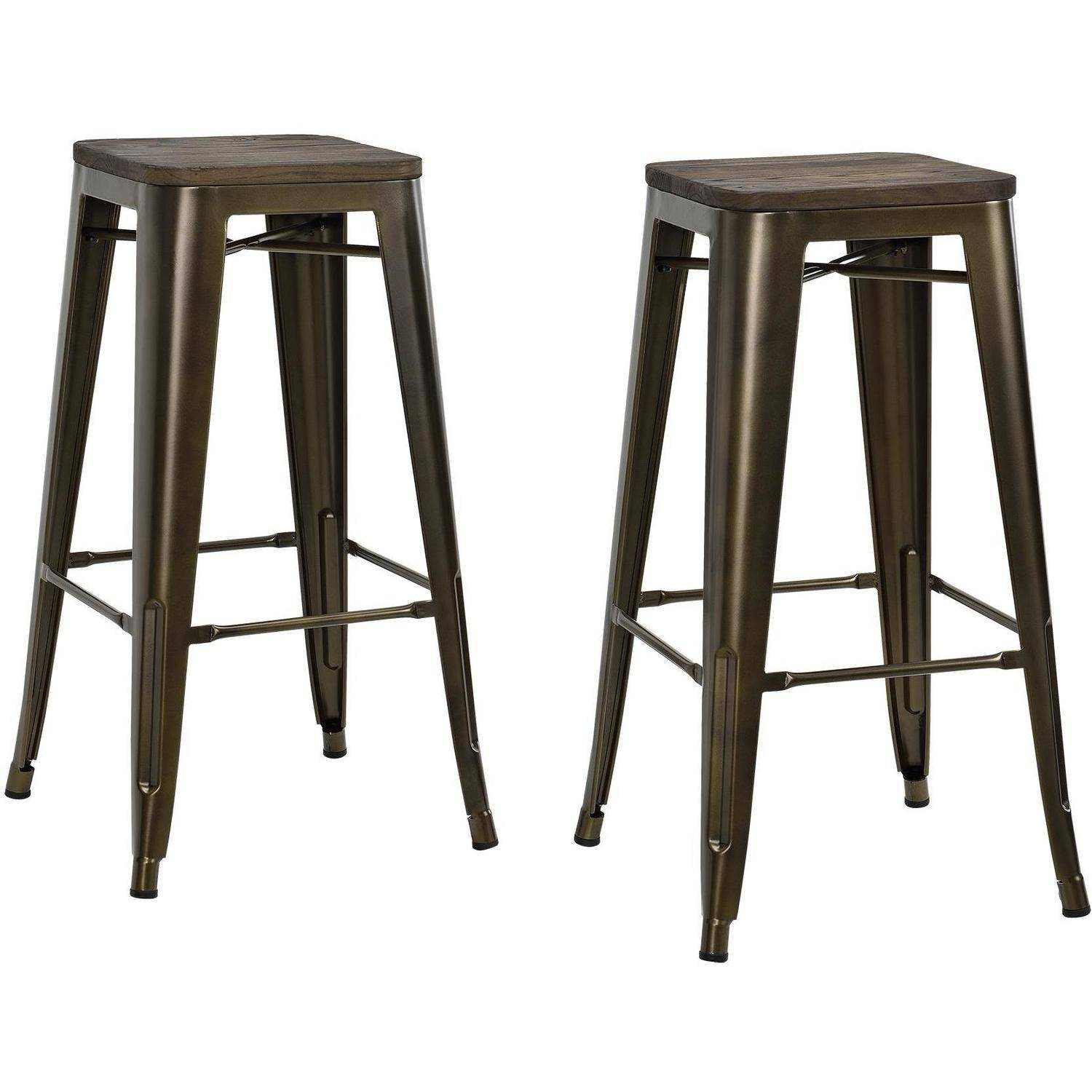 Dhp Fusion 30 Metal Backless Bar Stool With Wood Seat Set Of 2