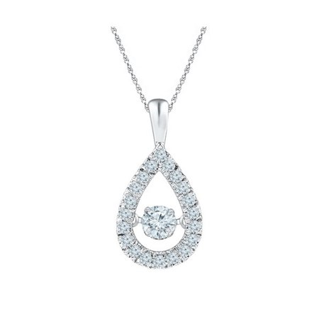 Beautiful 1.16 Carat Pear Shaped Round Cubic Zirconia Dancing Diamond Necklace In 925 Sterling Silver