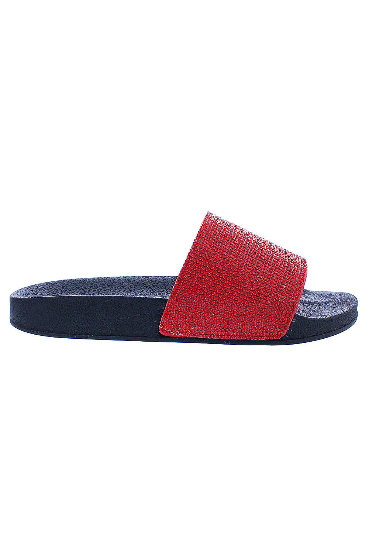 08875ca30a0f Genx - Womens Glitter Rhinestone Slide Sandal Shoes Slipper Blitz-1-10-Red  - Walmart.com